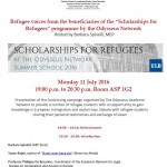 "Refugee Voices from the beneficiaries of the ""Scholarships for  Refugees"" programme"